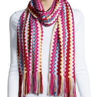 Knit Zigzag Scarf, Red/Yellow, RED/YELLOW - Missoni