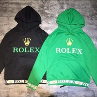 Rolex Fashion Long Sleeve Hooded Print Casual Sweater Sweatshirt