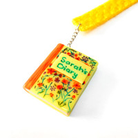 Sarah's Diary Bookmark - Miniature Diary with your name - Custom gift with your name - Yellow floral miniature diary polymer clay - Selsal