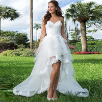 Tulle & Organza High-Low Wedding Dress with Beaded Lace Bodice
