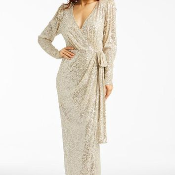 Feeling Amazing Long Sleeve Sequin Evening Dress