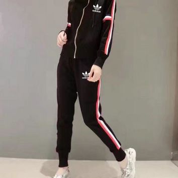 """Adidas"" Women Casual Multicolor Stripe Zip Cardigan Hooded Long Sleeve Trousers Set Two-Piece Sportswear"