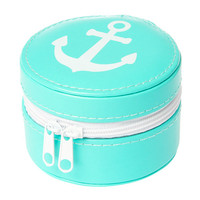 Small Round Turquoise with White Anchor Travel Jewelry Case