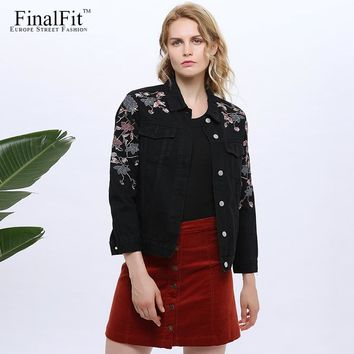 FinalFit Embroidery Denim Jacket Women Floral Black Autumn Women Jeans Jacket Coat Jaqueta Jeans Feminina