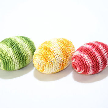 Crochet Easter Eggs (set of 3) colorful / Easter  Decoration / Green Yellow Red / Natural toy for baby