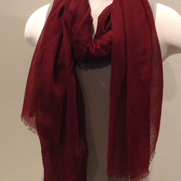 Blue Pacific silk and Linen Rectangle Scarf Crimson