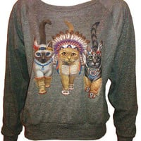 "Three Native Kitty Cats Pullover Slouchy ""Sweatshirt""  Top American Apparel Gray S"