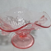 Fenton compote bonbon pink diamond optic dolphin double handled, 1920s