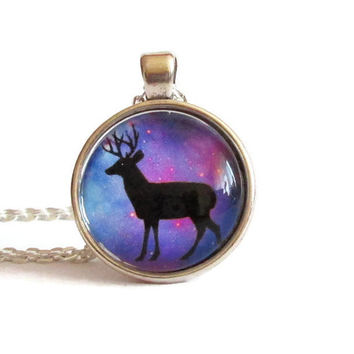 deer galaxy pendant necklace,deer charm,deer jewelry,deer necklaces,deer birthday,space pendant,space charm,glass art pendant,galaxy pendant