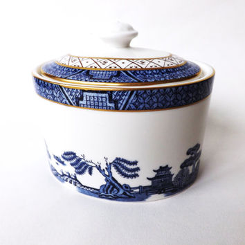 Covered Sugar Bowl Royal Doulton Booths Real Old Willow, Vintage Teaware Blue & White Fine China, Vintage Willow Pattern, Blue Kitchen