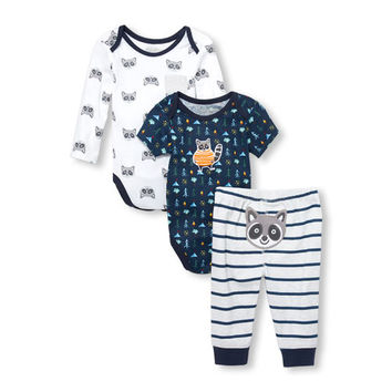 Baby Boys Raccoon Camper Bodysuits And Printed Pants 3-Piece Playwear Set
