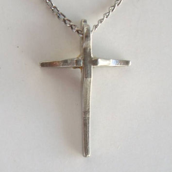 Tiny Sterling Silver Cross Pendant Necklace Religious Jewelry
