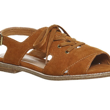 KDB Silverlake Lace Up Cognac Suede - Sandals