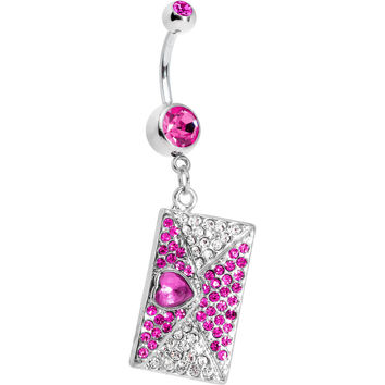 Fuchsia Gem Love Letter Dangle Belly Ring