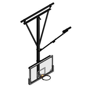 Gared Sports Single Post Ceiling Hung Basketball Backstop, Forward Fold/Front Braced