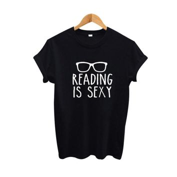 Reading Is Sexy Slogan Shirt Hipster Women Clothing 2018 Summer Funny T Shirts Black White Cotton Tee Shirt Femme Women Tops