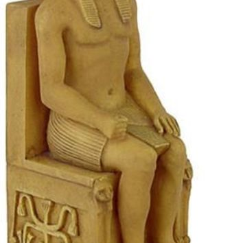 Egyptian Pharaoh Khefren (Khafre) Seated Miniature Statue, Stone - E-326S