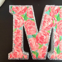 Lilly Pulitzer Print wooden letter with glitter trim