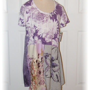 Altered, Upcycled Purple Floral Tee / tunic / women's clothing / ooak / medium