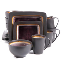 Ocean Paradise 16pc Dinnerware Square Set-Purple Crackle Reactive Stoneware