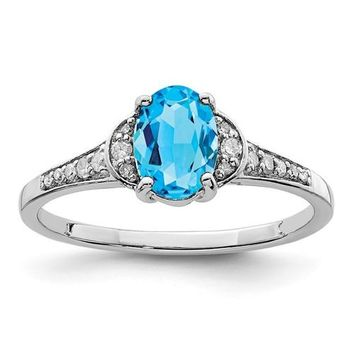 Sterling Silver Diamond & Genuine Oval Blue Topaz Ring