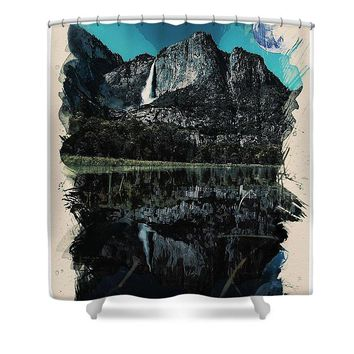 Watercolor Waterfal Series No 4 - Shower Curtain