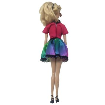 Newest Dress Colourful  Dress  Clothes Handmade Party Outfit  Barbie Original Girls'