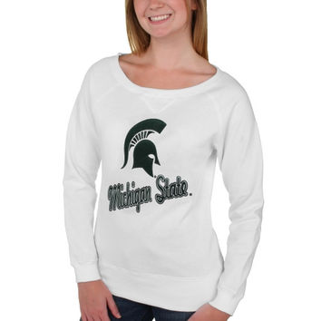 Michigan State Spartans Women's Omega Boat Neck Long Sleeve Sweatshirt – White