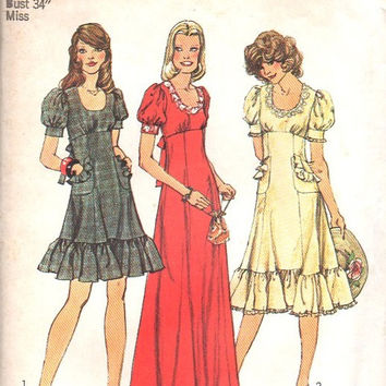 Simplicity 70s Retro Sewing Pattern 6551 Boho Hippie Style Peasant Dress Ruffle Hem Empire Waist Puff Sleeves Bust 34