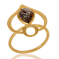 18K Gold Plated Sterling Silver Black Rutile Art Deco Statement Ring