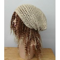 Hemp Wool natural cream slouchy beanie dreadlock hippie tam hat