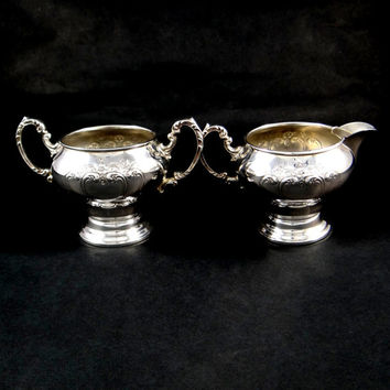 Gorham Chantilly Sugar and Creamer in Silver Plate. Never Used Original Box.