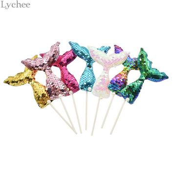 Lychee 7pcs/Lot Sequins Mermaid Cake Toppers Baby Birthday Wedding Party Cupcake Insert Card Decoration