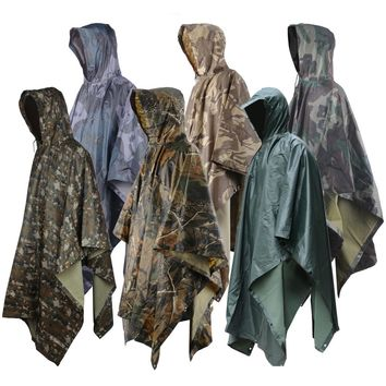 6 Colors Multifunction Military Raincoat Emergency Camo Rain Poncho for Camping Hiking Hunting Poncho Shelter Travel Kits