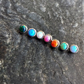 4mm Opal Stone (1 Single) Dermal Head Anchor Microdermal 14g (1.6mm) Gauge Body Jewelry