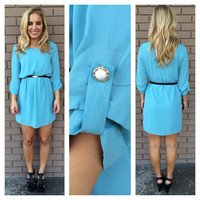 Blue 3/4 Button Sleeve Shift Dress