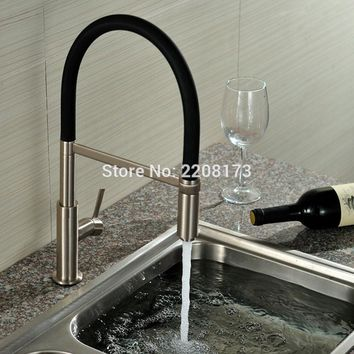 360 Swivel Solid Brass Single Handle Pull Out Down Kitchen Faucet In Brushed Nickel