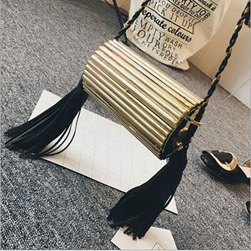 ladies metal glossy tassel evening bag clutch bags handbag minaudiere women party letter cluth silver gold black box chain purse