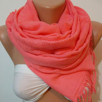 Gorgeous Scarf   Elegant  Scarf  Super quality - Soft - Cotton Pashmina....PINK