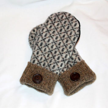 Wool Felted Mittens - Upcycled Wool Mittens  - Sweater Mittens - Womens Gloves and Mittens -Size Medium - Brown Mittens