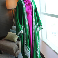 Bohemian Green floor length open front Caftan / Abaya with white embroidery
