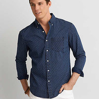 AEO Indigo Button Down Shirt, Navy