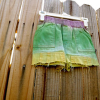 Kids Purple, Green and Yellow Cut-Off Shorts