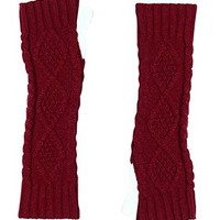 JOVANA Women Winter Warm Fingerless Knitted Long Gloves Mitten Wrist Arm Hand Warmer (Red)