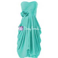 Symmetrical Short Party Dress Cocktail Dress Tiffany Blue Bridesmaid Dress (BM332)