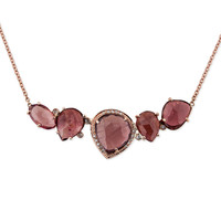 ASSORTED RUBY & 9 DIAMOND NECKLACE