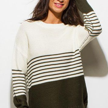 Color Block Striped Sweater