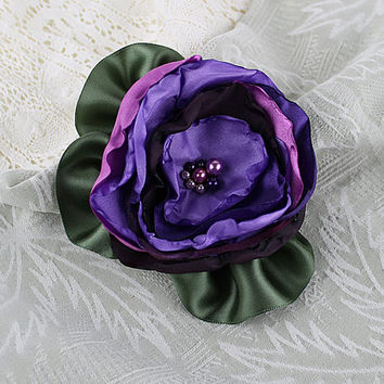 Mixed Purples Singed Fabric Flower Brooch, Millinery, Floral Corsage, Hat Flowers
