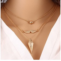 Trendy love beard necklace temperament multi - layer metal pendant fashion high - grade sweater chain jewelry