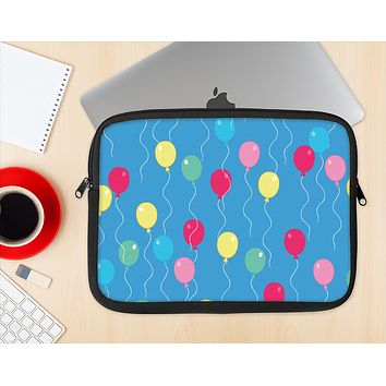 The Blue With Colorful Flying Balloons Ink-Fuzed NeoPrene MacBook Laptop Sleeve